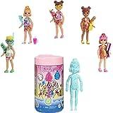 Barbie- Color Reveal Bambola Chelsea con 6 Soprese a Tema Spiaggia, Assortimento Casuale, Giocattolo per Bambini 3+Anni, GTT2