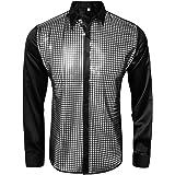 Funhoo 70s Mens Metallic Dress Shirt Disco Shirt Gold Sequins Long Sleeve Button Down Slim Fit Dance Tops Costume Party Clubw