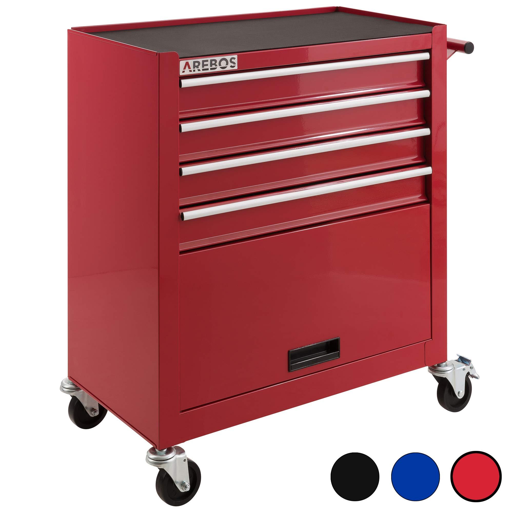 Arebos Werkstattwagen mit 4 Fächer, Antirutschmatten, 2 Rollen mit Festellbremse, rot