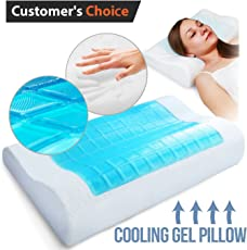House of Quirk Memory Foam Pillow Cooling Neck Pain - Cervical Support Back Stomach Side Sleepers for Women and Kids (GEL_MEM_PILLOW,White)
