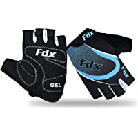 Fdx Half Finger Cycling Gloves - Breathable, Gel Padded Protection, Anti-Slip - Fingerless Shock-absorbing Mitts for…