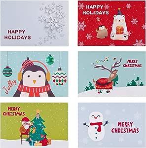 ANEWISH 6 Pcs Auguri Natalizio Carte Albero di Natale Casa di Neve Pupazzo di Neve Babbo Natale Buon Natale Auguri Biglietti con Buste
