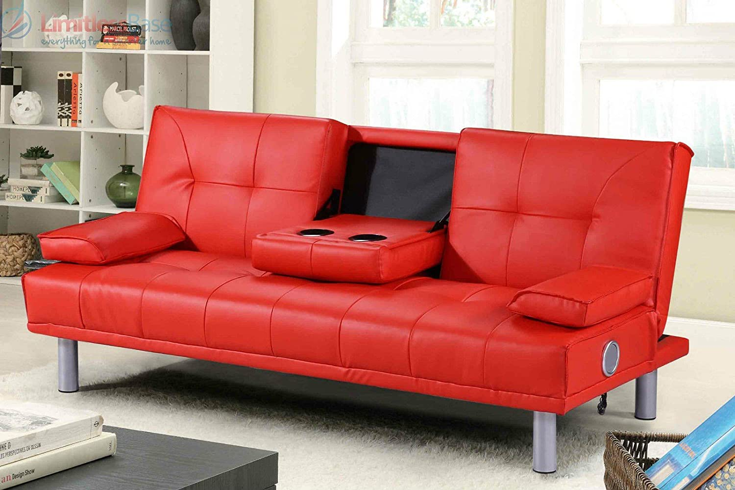 Modern Designer 3 Seater Faux Leather Sofa Bed Built In Bluetooth Speakers  In 4 Colours (Red): Amazon.co.uk: Kitchen & Home