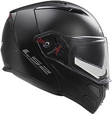 LS2 Polycarbonate Helmets Metro Solid Modular Motorcycle Helmet with Sunshield, Large (Matte Black, 324-1014)