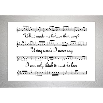 Elbow One Day Like This Personalised Framed Lyric Print Valentines Day Gift Idea