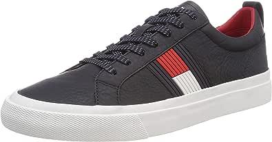 Tommy Hilfiger Flag Detail Leather Sneaker, Scarpe da Ginnastica Basse Uomo