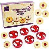 Emporte Piece Biscuit,Linzer Cookie Cutters Jeu de 6,emporte pièces Linzer,Emporte Piece Patisserie,pour cookies, glaçage, dé