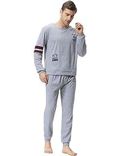4076c08229da35 Aiboria Herren Schlafanzug Pyjama Splicing Kontrast Lang Freizeithosen  Jerseyhose Schlafanzughose Set Pant Zweiteiliger Anzug Baumwolle Nachtwäsche