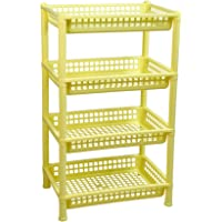 HomeStrap Logic Deluxe Multi Purpose Plastic 4 Shelf Storage Rack (Yellow, Standard Size)