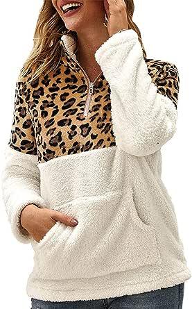 OrientalPort Felpa da donna casual con motivo leopardato, a maniche lunghe, calda