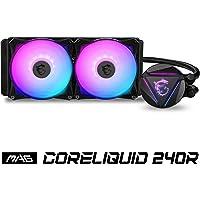 MSI MAG CORELIQUID 240R - AIO RGB CPU Liquid Cooler - Rotating Cap Design - 240mm Radiator - Dual 120mm RGB PWM Fans