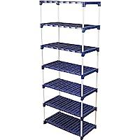 Novatic Plastic Powder Coated Multipurpose Rack ( 7 Shelves ) - Navy Blue