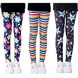 Mengxin 3 Pack Pantalones Leggings Niña Elasticidad Leggins de Niñas con Estampado Floral Pantalón Largo Completo 3-10 Años