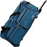 DEUBA XL Reisetasche   mit Trolleyfunktion   Rollen mit Kugellager   Teleskopgriff   abschließbar 85 Liter in Blau Sporttasche Reisetrolley Gepäcktasche