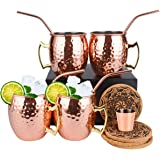 Eligara Moscow Mule mugg kopparmugg (premier) hamrade och handgjorda kopparkoppar med 4 glas, 4 underlägg, 4 sugrör, 1 mätkop