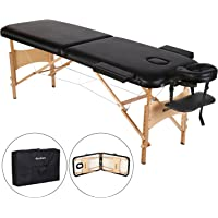 MaxKare Table de Massage Pliante en Bois, 2 Zones Pliables et Hauteur Réglable, Lit Professionnel d'esthetique pour Les Salons Bien-être/A Domicile + Sac de Transport