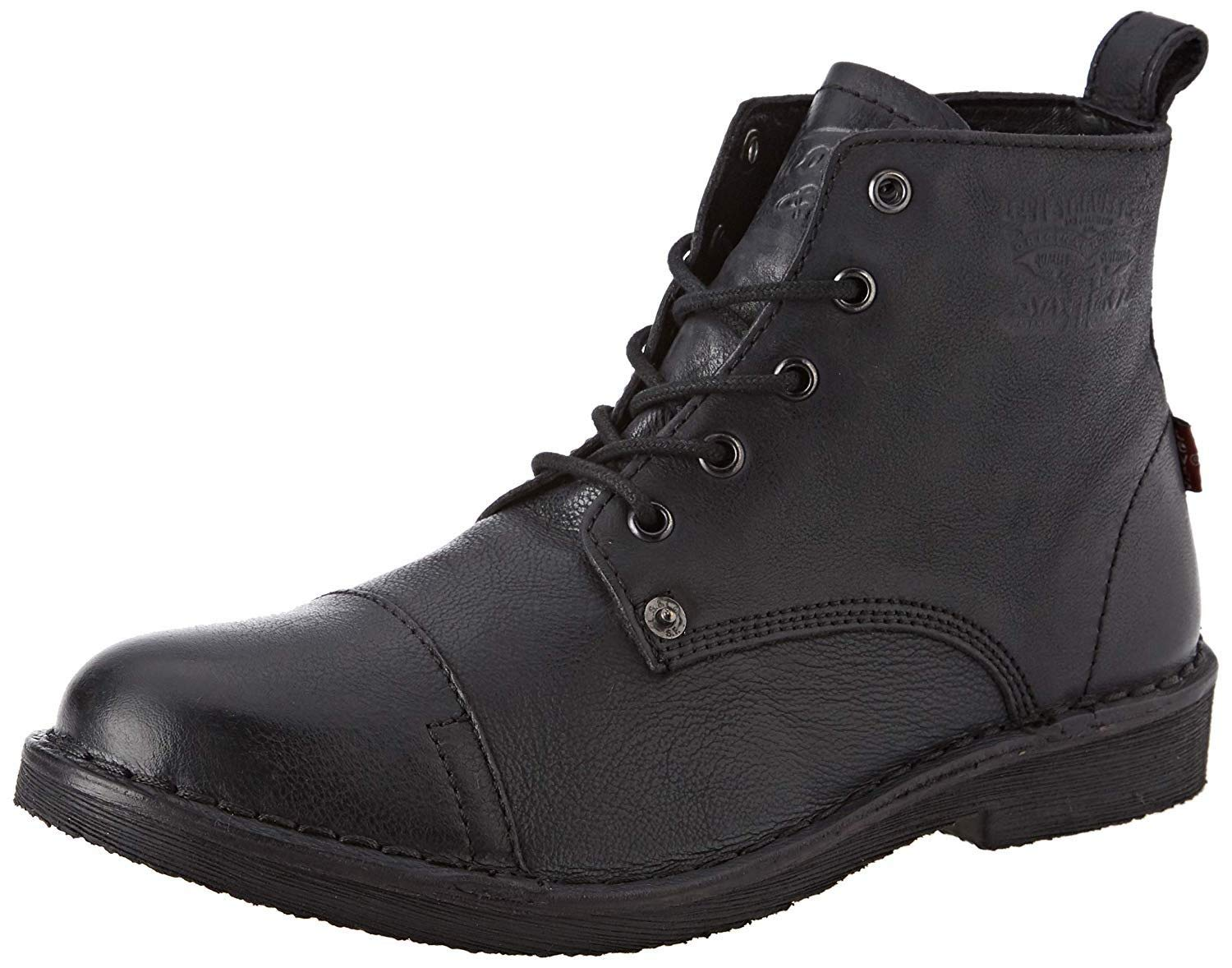 Levi's Track Black Mens Leather Mid Ankle Boots