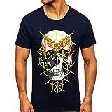 BOLF Hombre Camiseta de Manga Corta Estampado Impresión Escote Redondo T-Shirt Liso Camiseta de Algodón Print Crew Neck Logo
