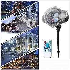 Rehao Weihnachten Projektorlampe, LED Schneeflocken Projektor Weihnachtsbeleuchtung Außen Schneefall Projektor Beleuchtung LED Schneeflocken Licht für Halloween Weihnachten Hochzeit Geburtstag Neujahr Party