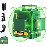 Livella laser Verde 3x360° POPOMAN, 3D Professionale Linea Laser Croce 45m, USB Ricarica, Autolivellante e Funzione Impulso,