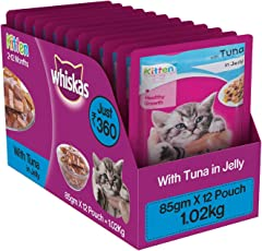Whiskas Wet Cat Food, Tuna in Jelly for Kittens, 85 g (Pack of 12)