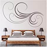 azutura Thin Swirl Headboard Bedroom Wall Sticker available in 5 Sizes and 25 Colours Silver Metallic