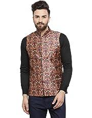 ca08cfad0c7 Ben Martin Men's Dupion Silk Nehru Jacket Waistcoat-(BM-WS-Printed-