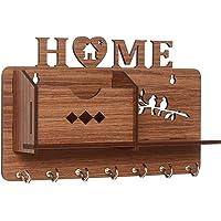 Webelkart Designer Home Side Shelf-Brown Wall Shelves Wooden Shelf, Keyholder (with 7 Keys Hooks)