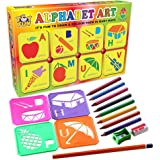 TOY FUN Plastic 28 Educational Stencils Alphabets A to Z and Numbers with Pencil Color, Age 3, Multicolour