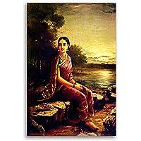 Tamatina Raja Ravi Varma Canvas Paintings - Radha in The Moonlight - Academic Art - Home Decor - Paintings for Living…