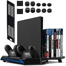 Younik PS4 / PS4 Slim Supporto Verticale con Ventola di Raffreddamento, Ventole Ricarica per Dual Controller , 14 Slot Game Storage e 3 Porte USB per Playstation 4 / Playstation 4 Slim