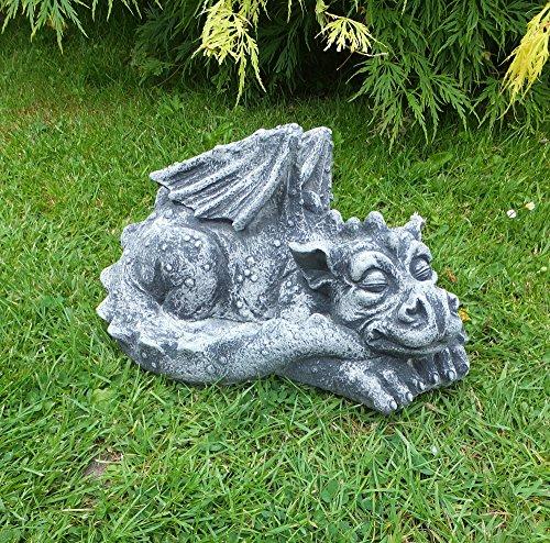 Steinfigur Großer DRACHE DRACHEN FIGUR Deko Garten Teich Koi Deko Frostfrei Neu 31 cm massiver Steinguss