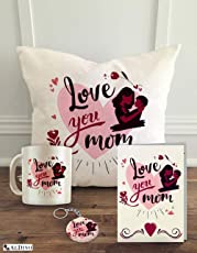 "ALDIVO Gift for Mother | Gift for Mom | Gift for Mothers Day | Mothers Day Combo Gift Pack (12"" x 12"" Mothers Day Theme Printed Cushion Cover with Filler + Printed coffee mug +Greeting Card + Printed Key Ring)"