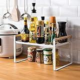 Étagère de cuisine, étagère à épices, en fer et poignée en bois, convient pour le rangement de la maison et de la cuisine, bl