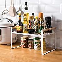 Étagère de cuisine, étagère à épices, en fer et poignée en bois, convient pour le rangement de la maison et de la…