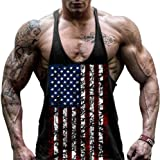 GITVIENAR Herren Fitness Muskel Gym saugfähige Weste Bodybuilding USA Flagge Stringer Tank Top