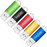 SunData 5 Pezzi 16GB Chiavetta USB Pen Drive 16GB Metallo USB2.0 Unità Memoria Flash Thumb Drive per Archiviazione Dati con L