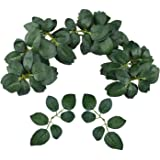 Bs Amor 40pcs Bulk Rose Leaves Artificial Greenery Fake Rose Flower Leaves for DIY Bouquets Centerpieces Party Decorations Ro