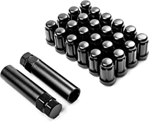 Krator Radmuttern 24 Stück Schwarz 12 X 1 5 Cm 2 X Schlüssel Diebstahlsicherung Radmuttern 6 Keilen Geschlossenes Ende Kegelsitz Gesamtlänge 3 5 Cm Auto