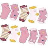 10 pares de calcetines de algodón para niños y niñas L & K-II para niños pequeños Patrón lindo Calcetines deportivos para niñ