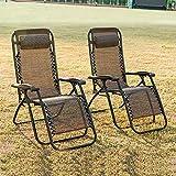 Merax® klappbare Sonnenliege in Schwarz Relaxliege mit abnehmbaren Kopfkissen Liegestuhl Strandliege aus Textilene (2 Set Braun)