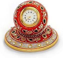 Little India Beautiful Golden Meenakari Work Marble Table Clock (White)