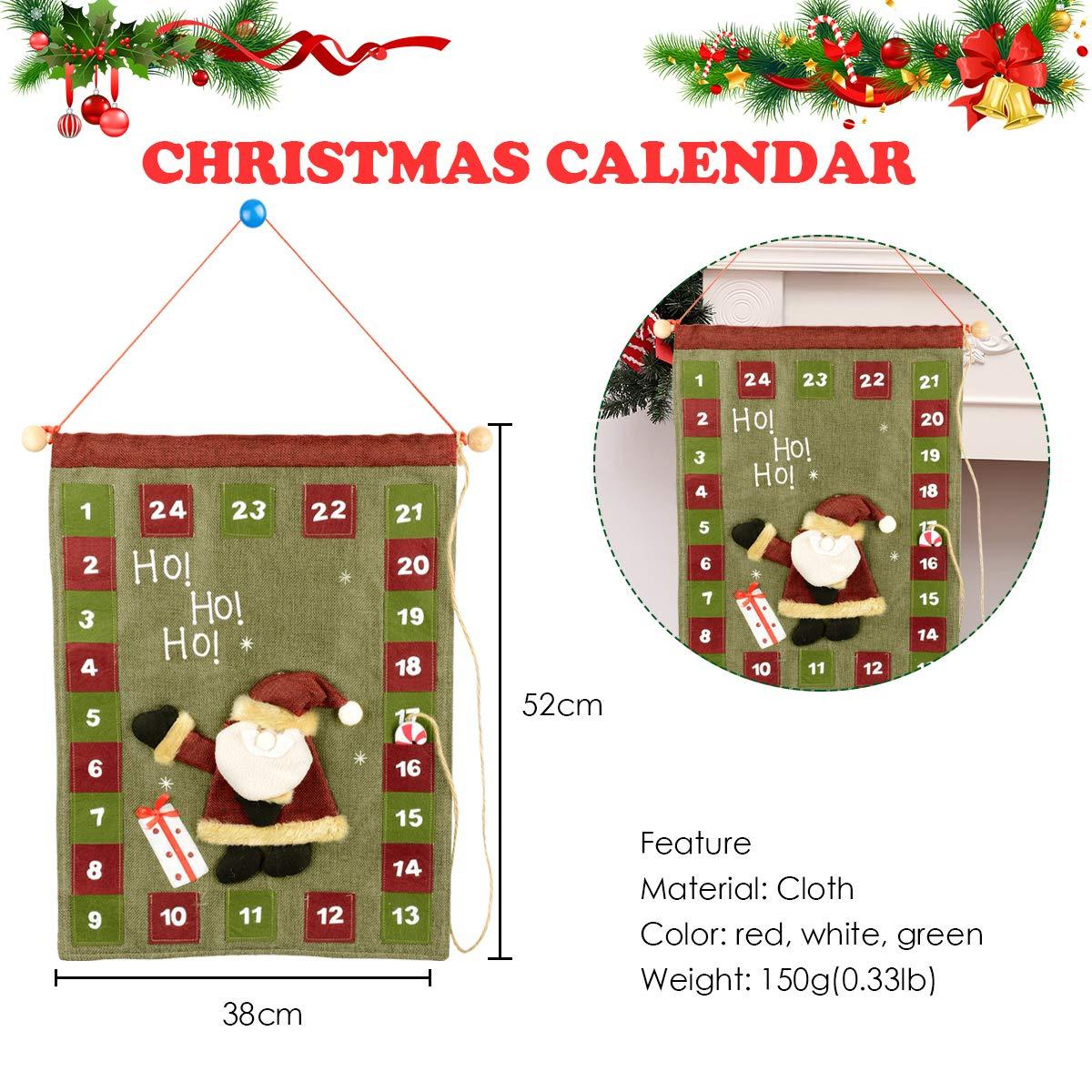 Hanging Christmas Decorations.Legendtech Xmas 24 Day Advent Calendar Countdown Wall Hanging Christmas Calendar Decoration Felt Pocket Traditional Merry Christmas Ornament Santa