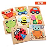 Wooden Jigsaw Puzzles, Animal Puzzles for Toddlers Kids 1 2 3 Years Old Boys and Girls Educational Toys with 8 Animals...