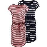 ONLY OnlMAY S/S Dress - Mini abito estivo da donna, confezione da 2 pezzi, XS, S, M, L, XL, XXL, a righe, colore nero, 100% c