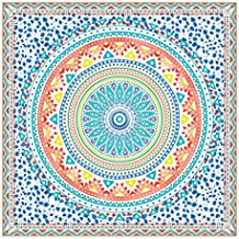 Orian Toalla Pareo Doble de Playa Microfibra de 150x150 cm. Mandala Extra Grande.