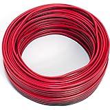 Cable de altavoz 2 x 0,50 mm², 25 m, rojo y negro, CCA, cable de audio, cable de caja