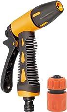 HOKIPO High Pressure Garden Hose Nozzle Water Spray Gun with Connector