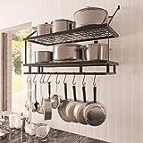 Amazon Brand - Umi Pot Rack Holder Organiser Wall Mount 30-Inch 75 cm Hanging Pot Pan Rack Kitchen Storage and Organization M