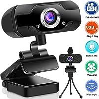 Webcam 1080P mit Mikrofon, PC Laptop Desktop USB 2.0 Full HD Webkamera mit automatisch Lichtkorrektur Autofokus für…